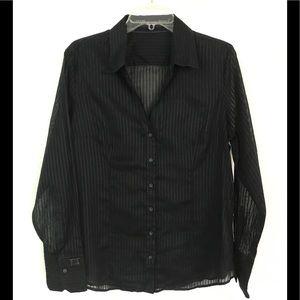 Express Design Studio sheer black striped shirt